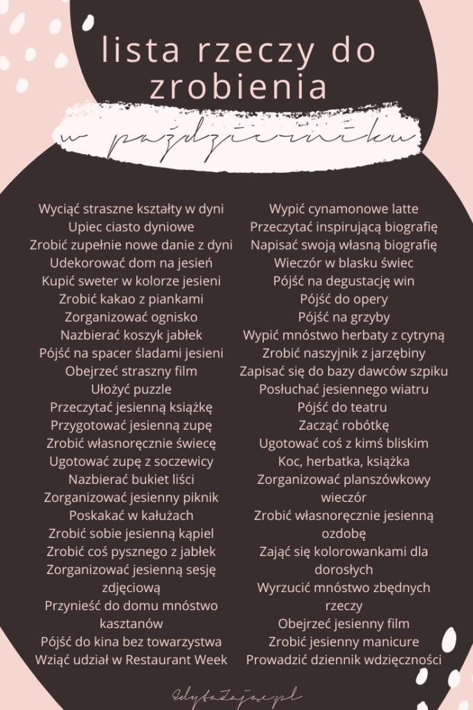 lista przeżyć październik